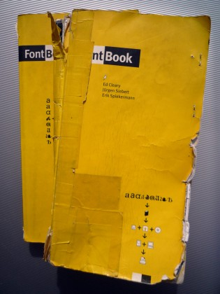 FontBook Vol. 1 and Vol. 2 after several years of daily use in the FontShop Germany office. Photo courtesy FontShop.de.