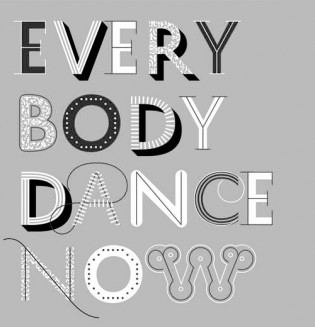 "History in use by Pentagram for ""Everybody Dance Now"" exhibition at AIGA in NY"