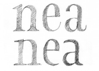 This Übele sketch compares closed and open letterforms in narrow type.