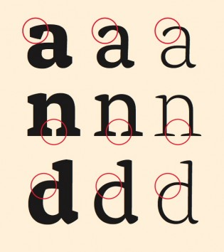 Variation of letterform construction in Alda's three weights