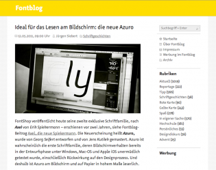 Azuro Web in use at Fontblog.de