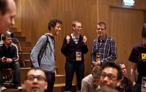 Just van Rossum, Ben Kiel, and Robothon co-organizer, Erik van Blokland