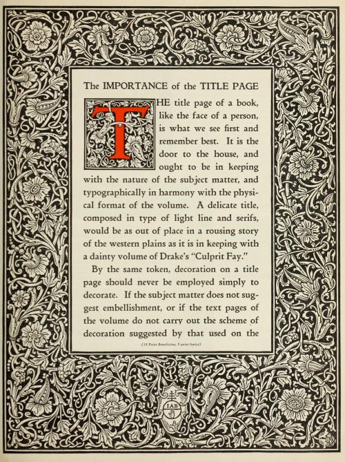 The Manual of Linotype Typography - The importance of the title page