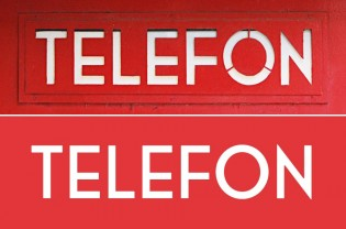 Original phonebooth lettering (above), Telefon below