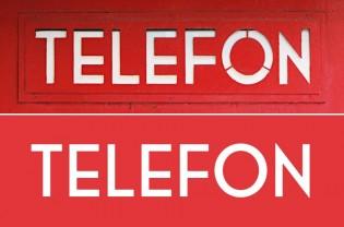 Original phonebooth lettering (above), Telefon below