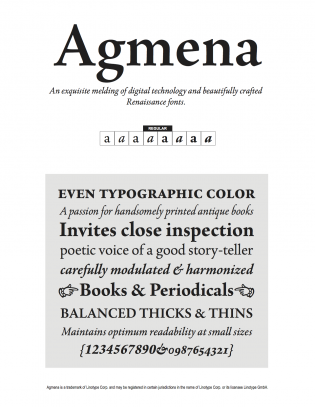 A page from LInotype's PDF specimen.