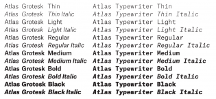 The Atlas Grotesk and Atlas Typewriter family