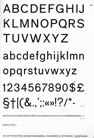 1960s Mercator specimen from Amsterdam Typefoundry. Via Charles Mazé.