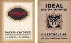 Specimen booklets of Venus and Ideal Grotesk (via Monotype)