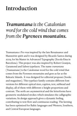 Tramuntana text sample