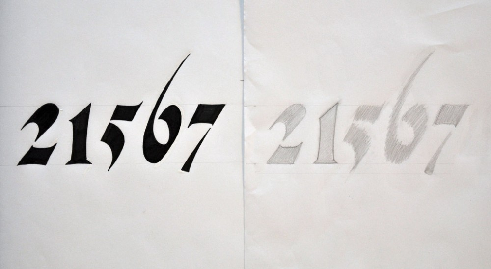 June 12: extra bold, extra condensed proportional oldstyle numerals; stroke endings: a serif; ascender much longer, descender much shorter than normal; high translation-based contrast; visibly concave stems; intended for packaging at display sizes; cut as a stencil