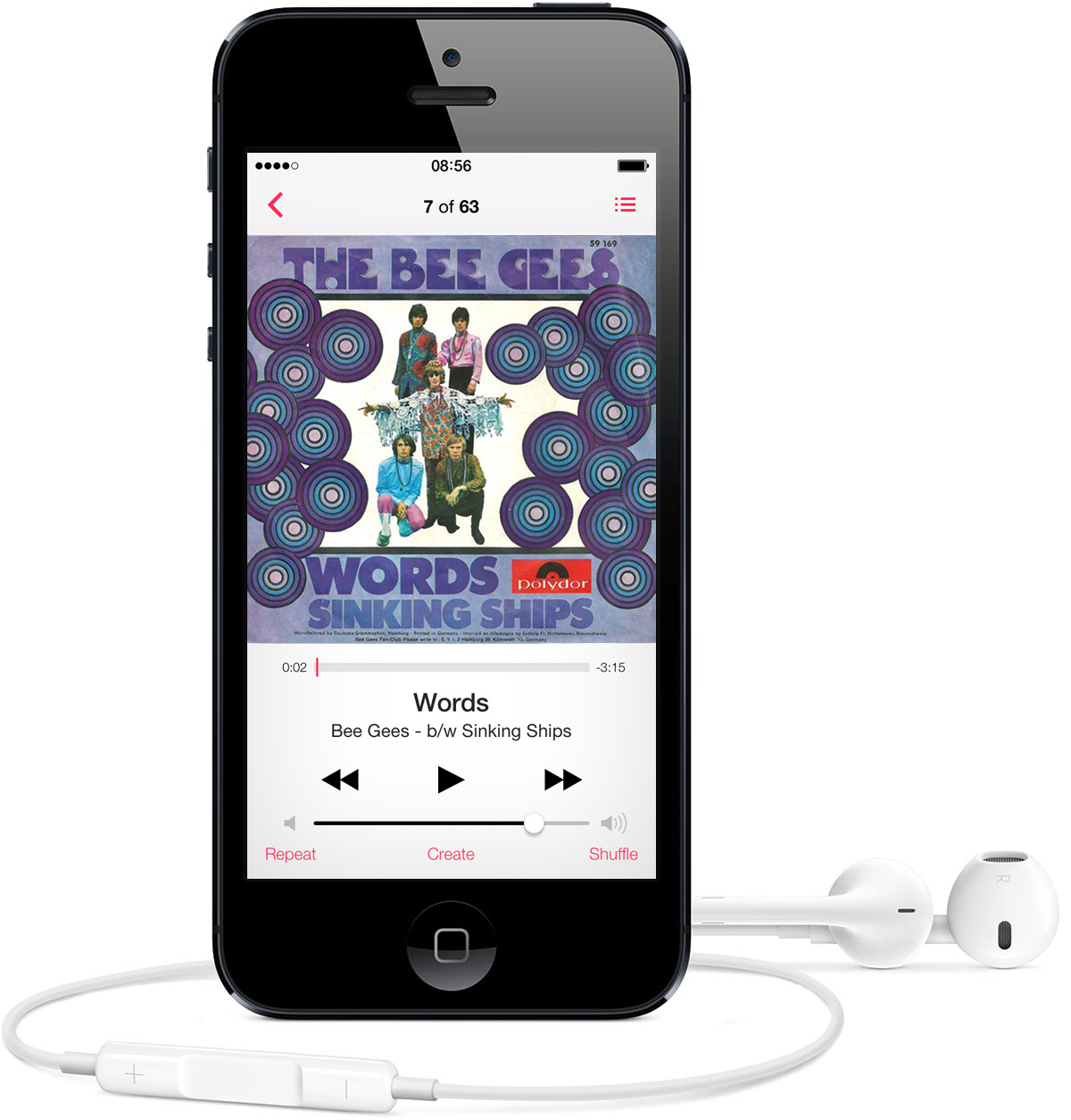 "Screenshot of the Music app in iOS 7 playing ""Words"" from the album ""Sinking Ships"" by The Bee Gees"