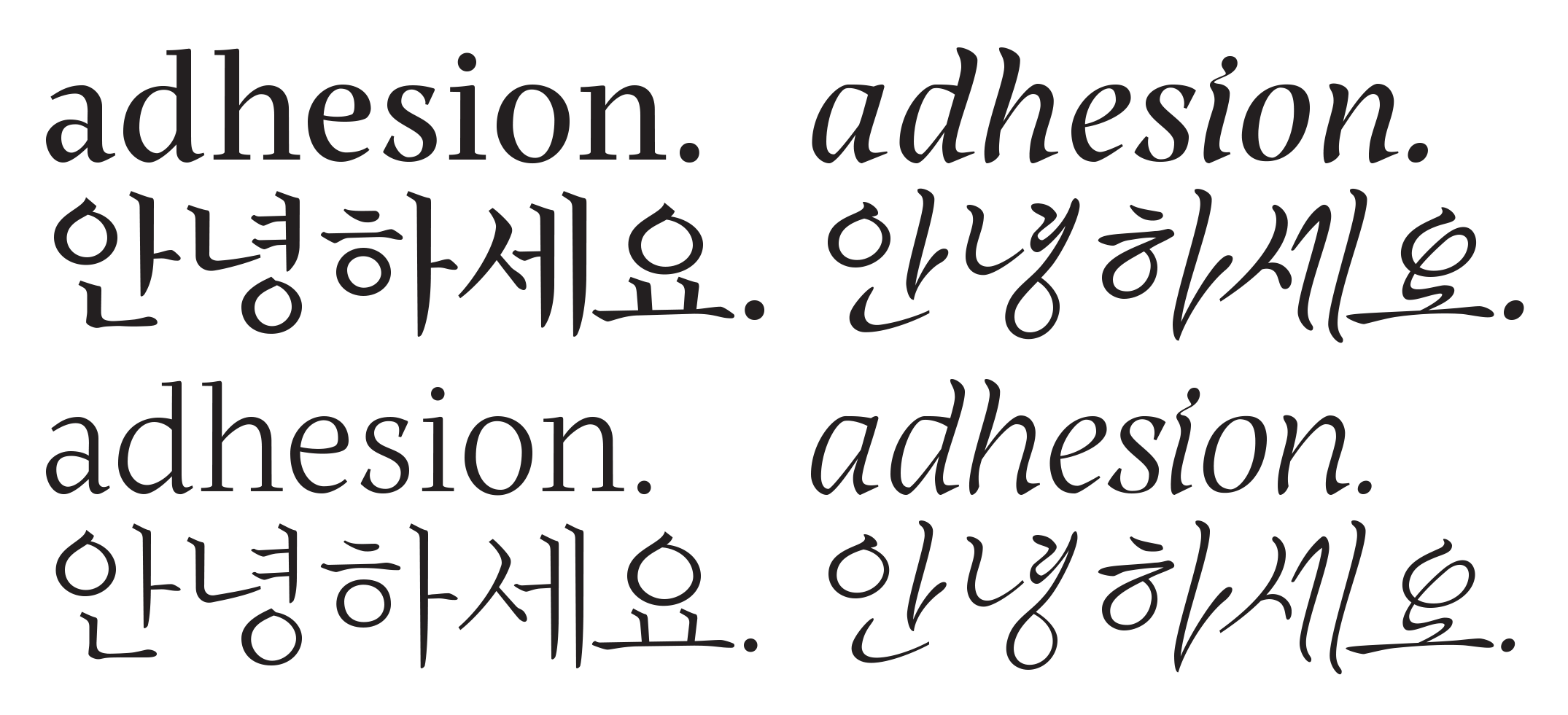 Aaron Bell's Korean typeface [PDF] borrows from native cursive writing to differentiate the secondary style.