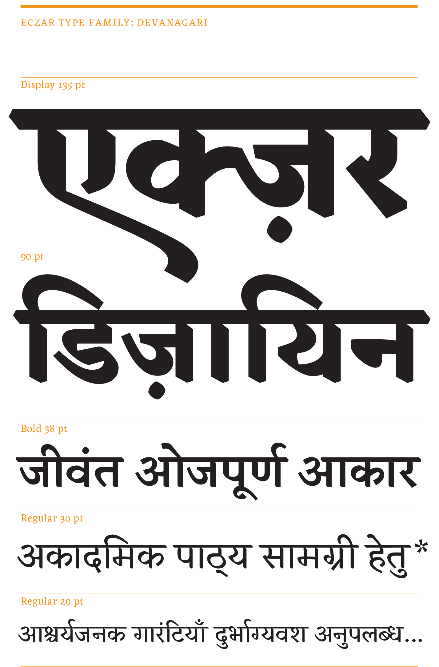 Vaibhav Singh's Devanagari [PDF] explores changes in pen shapes as the weight moves towards a Black Display.