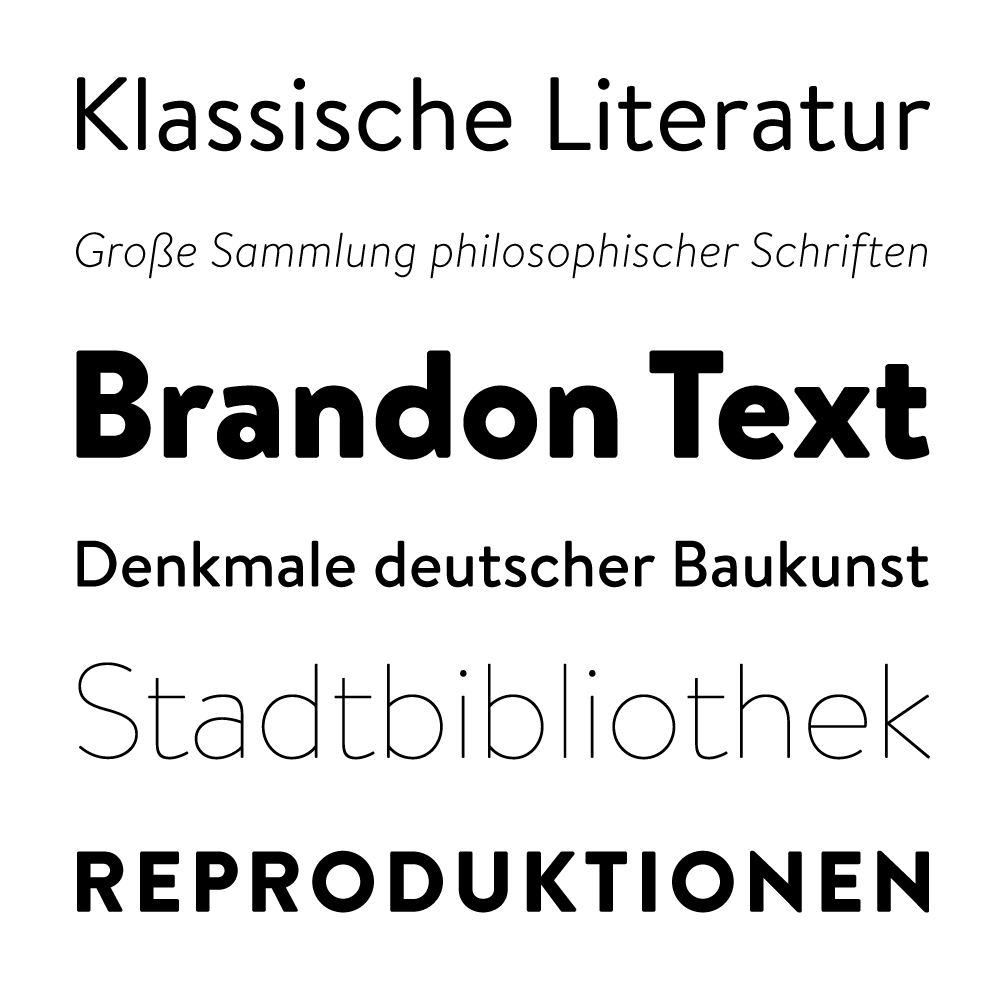 Brandon Text fonts specimen