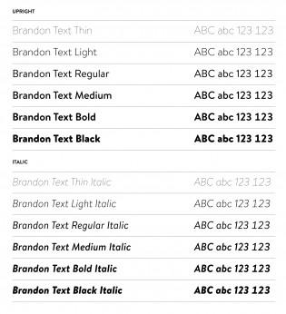 Brandon Text styles