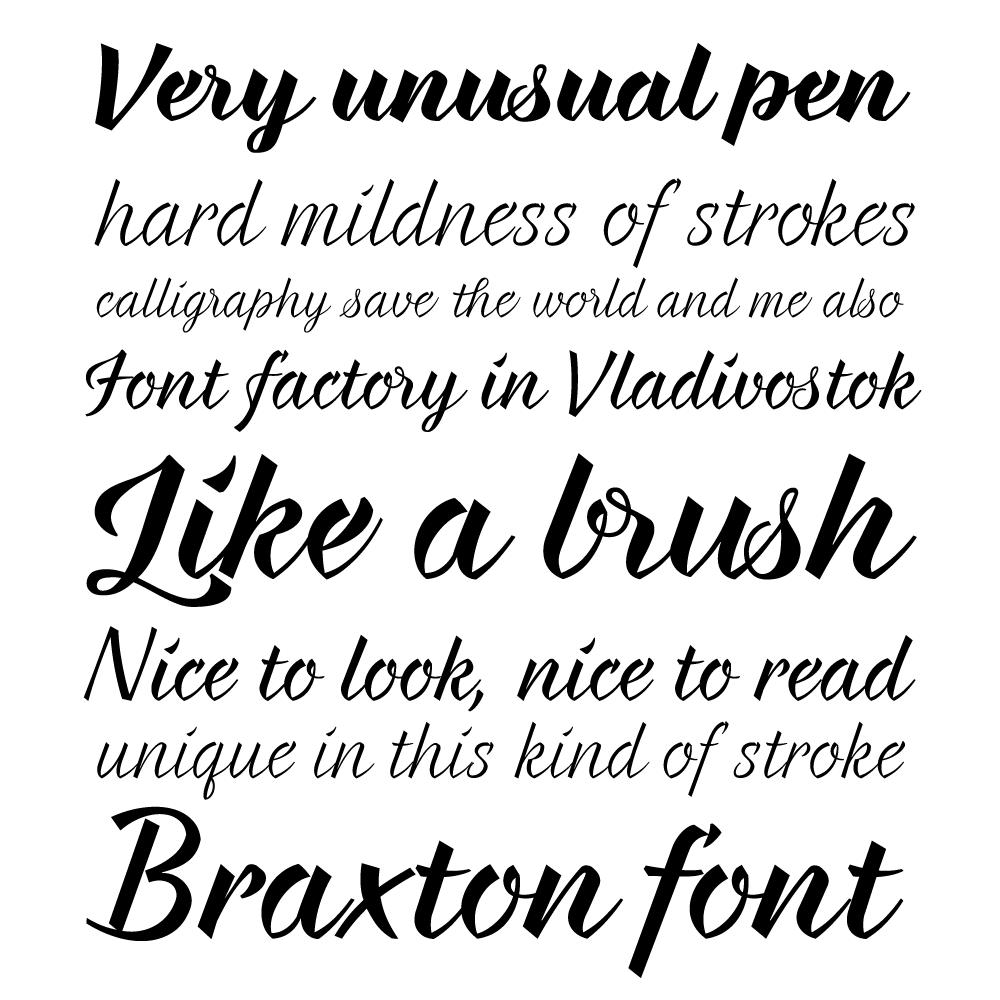 Braxton fonts specimen