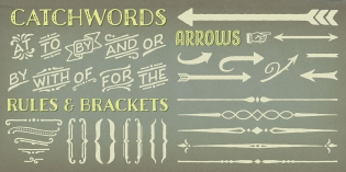 Charcuterie Catchwords, Brackets, Rules, and Arrows