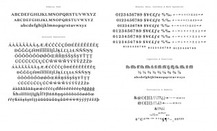 Domaine Text glyph set