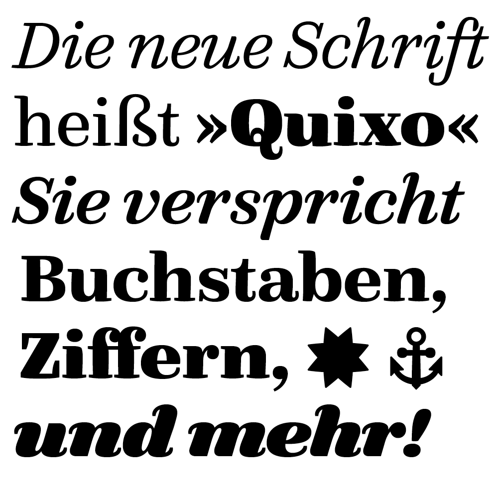 FF Quixo fonts specimen