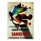 Perhaps one of the posters that inspired Thomas, or something like it.  Image source: www.zazzle.co.uk/grand_prix_sanremo_italy_vintage_car_racing_ad_poster-228014672273275862.