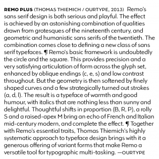 Remo Plus text sample. Also shows some of the alternate glyphs.