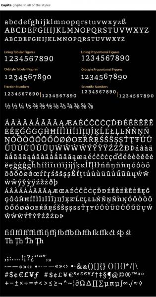 Capita glyphs