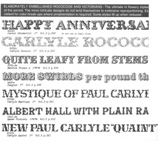 Decorative designs by Paul Carlyle and others as shown in Photo-Lettering's One Line Manual of Styles, 1971. (Larger image.)