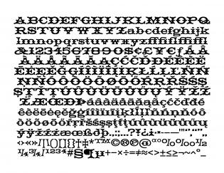 HWT Tuscan Extended glyphs