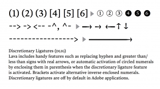 Lava uses ligatures to quickly produce index numerals and arrows of variable length.