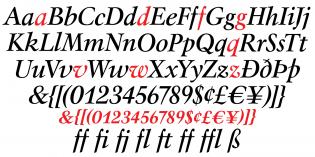 Mauritius italic glyphs