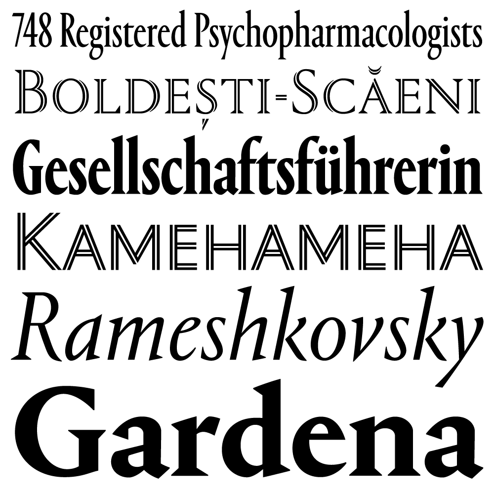 Portrait fonts specimen