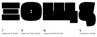 "Three Pufff glyphs that are exceptions to its ""counterless"" design principle, and one that reviewer Frank Grießhammer calls an ""amazing exercise in abstraction""."