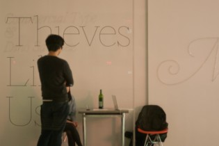 Berton Hasebe at the Thieves Like Us exhibition, New York, 2011. Photo by Caren Litherland.