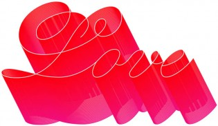 """Love"" by Paul Barnes, 2003. Marian began as a monoline copperplate script in Illustrator."