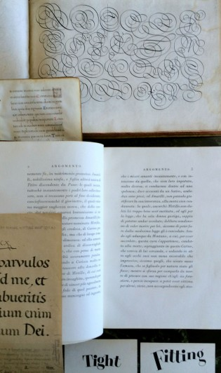 Workshoppers get to play with, from top: Van de Velde, a renaissance manuscript, Bodoni, Johnston, and Leach, among others.