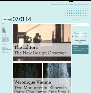 The new Design Observer design, launched on July 1, 2014