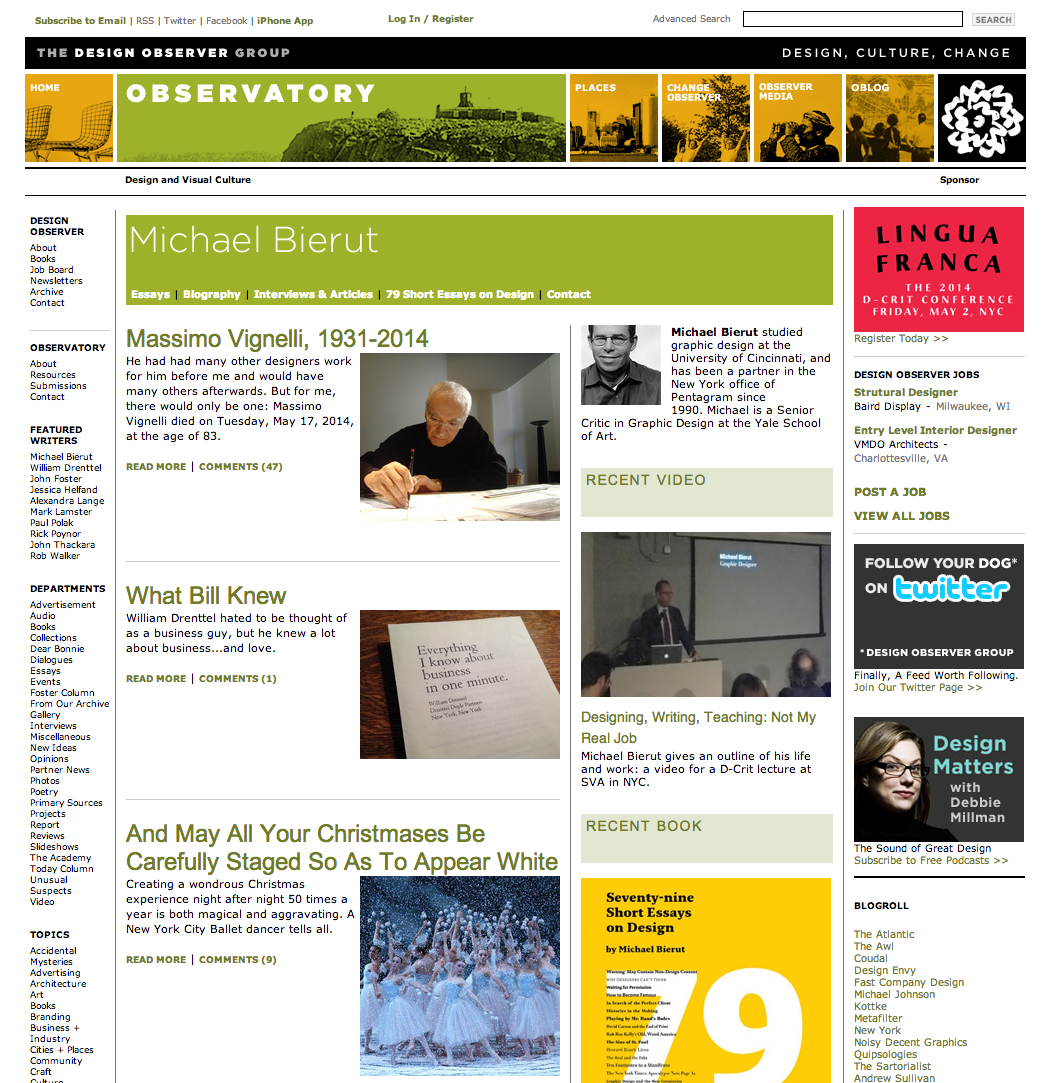 A page on Design Observer before the July 2014 redesign.