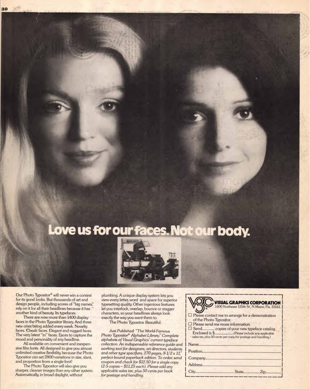 Ad from U&lc for a Photo Typositor showing a photograph of two beautiful women with the text: 'Love us for our faces. Not our body.'