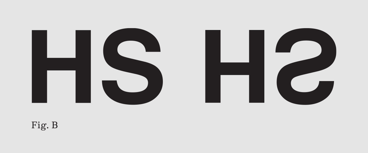 By rotating glyphs, such as these from Helvetica, one can immediately see the optical corrections that make top and bottom halves appear equal.