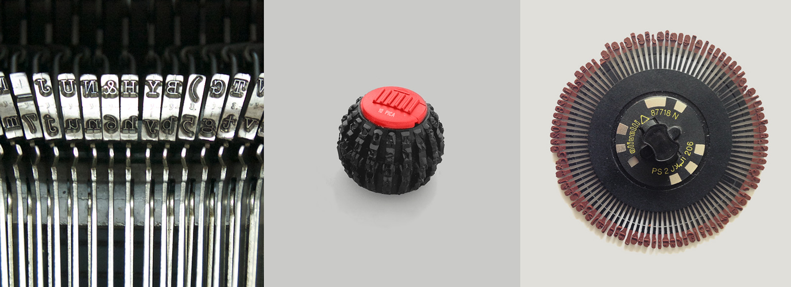Type bars, golf ball, and daisy wheel for Olivetti typewriters. These were the three mechanisms used for printing type in typewriters. Photos by María Ramos (bars and wheel) and Olivetti (ball).