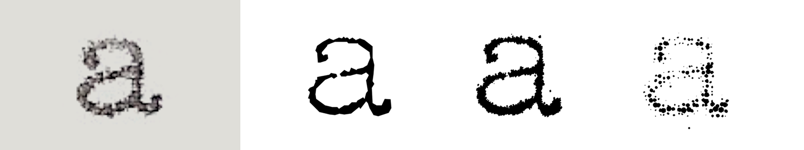 Sample of typewritten 'a' and the three grades of FF Trixie  (Erik van Blokland, 1991 and 2008).