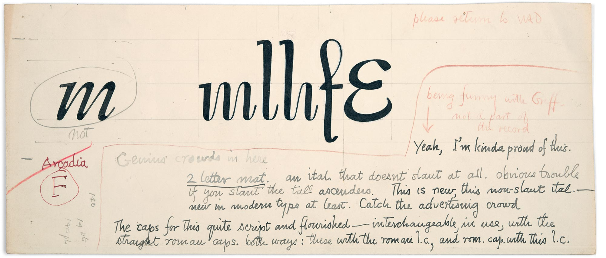Dwiggins' initial study for Charter with notes to Linotype director Chauncey H. Griffith