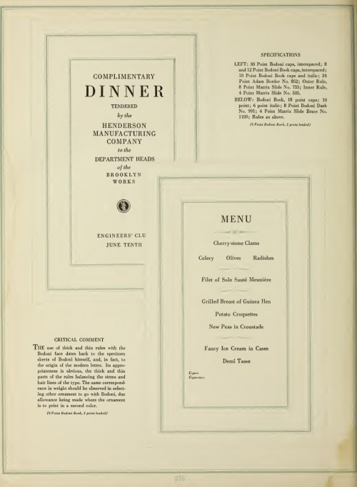 The Manual of Linotype Typography - Menu in Bodoni