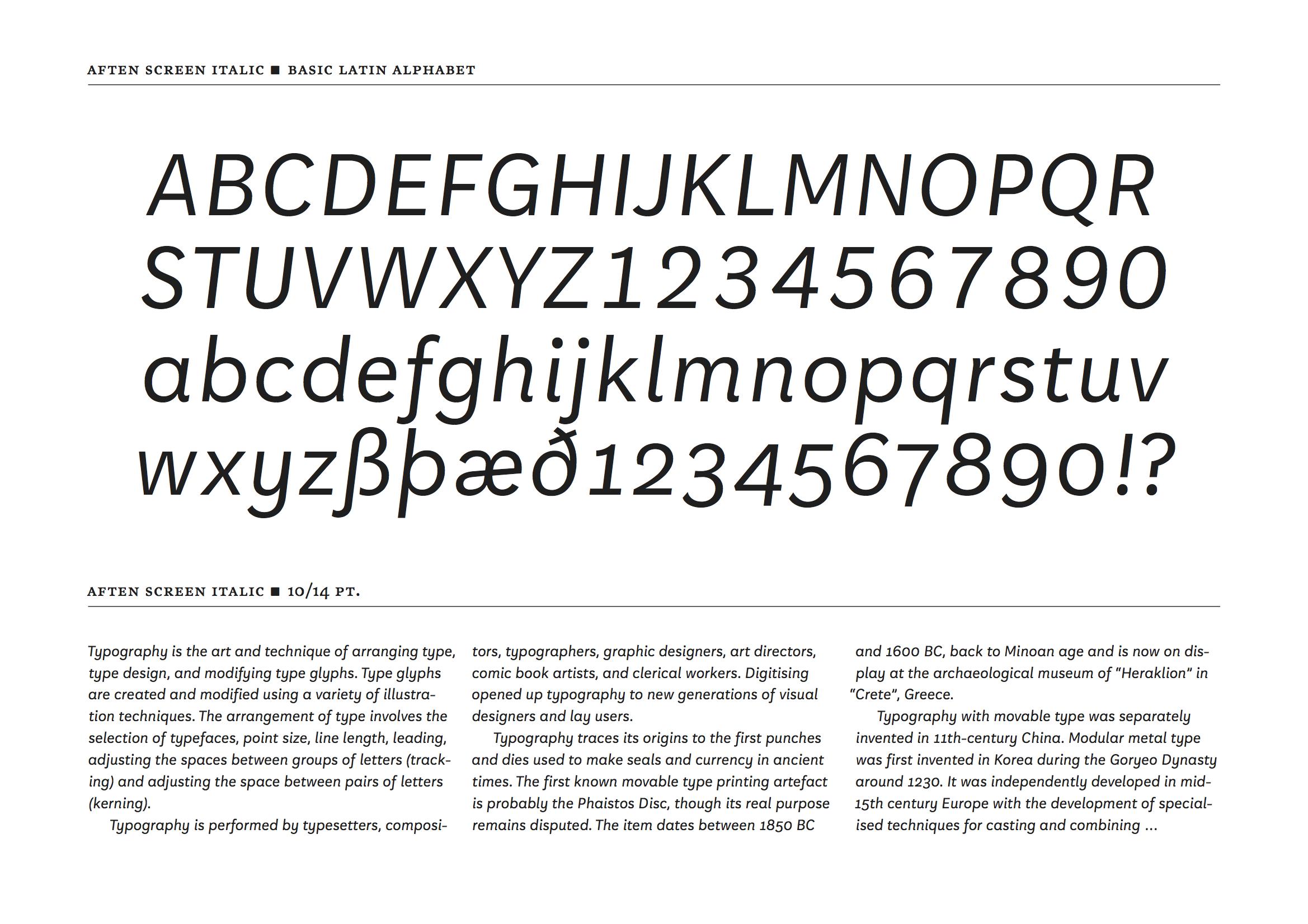 Aften Screen Typographica