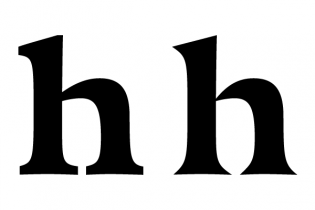 Sturdy serifs in the text version become pointy shards in the display.