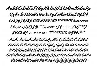 Cortado Script character set