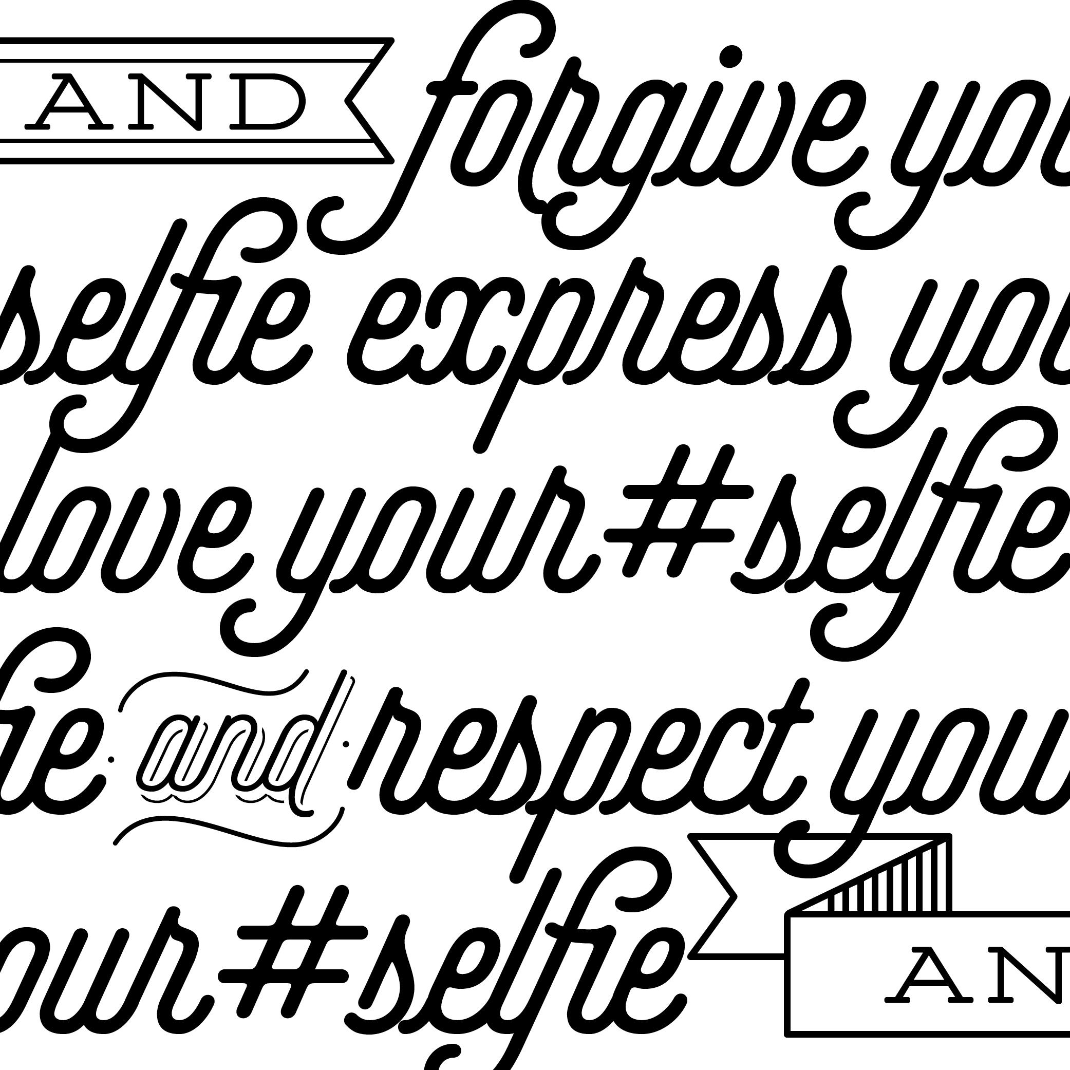 script typographica Intel Slogan selfie