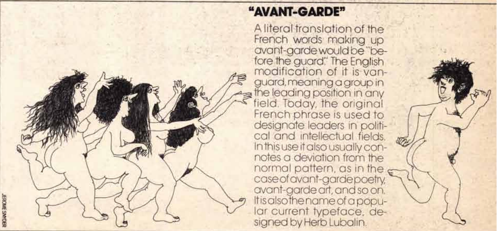 Illustrated ad for the typeface Avant-Garde from U&lc magazine showing a bunch of naked women chasing after a naked man