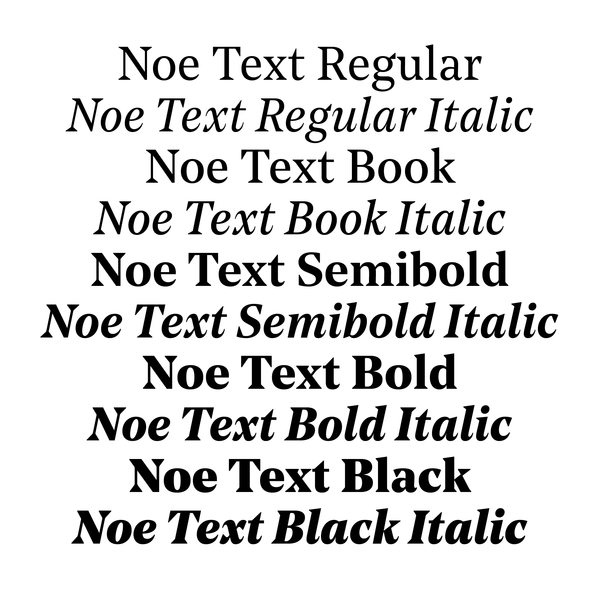 Noe Text styles & weights